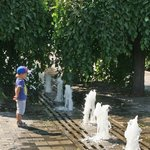 Fountains by the Dnipropetrovsk river