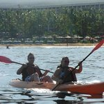 Our family kayaking in the ocean in front of the hotel