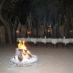 Dinner table set up in the Boma
