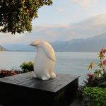 Nice sculpture along the beautiful shore of Lake Geneva