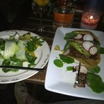 My dinner, Chayote Salad and Tacos Surtidos. Delightful!