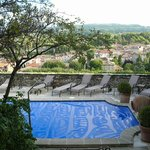 The pool, covered overnight, with great views