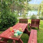 Nice picnic tables