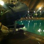 Slide in pool area