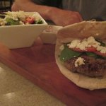 Lamb burger with greek salad