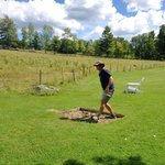 Playing horse shoes behind the Inn
