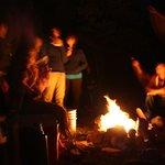 Bonfire on bank of Elk lake under starlight