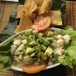 ceviche and cassava chips