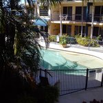 View from balcony unit at rear of complex overlooking pool