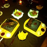 Rump/entrecote steaks cooked on hot stones