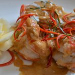 Freshwater King prawns in thick red curry with Thai herbs