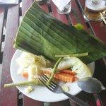 fish in banana leaf