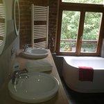 Ensuite bathroom in The Blue Room - Phileas Fogg Brussels, Belgium