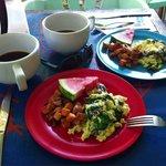 Egg scramble, batatas (Puerto Rican yams), amazing coffee!