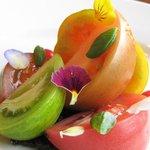 heritage tomato salad, black olive tapenarde, tomato essence
