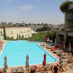 swimming pool area with a view at the old city