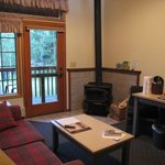 Another view of our room, showing the wood burning fireplace