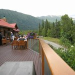 Patio overlooking the Kenai River - great place for dining