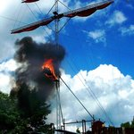 Flaming, Fiery High Diver. Pirate Show.
