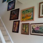 Stairway with artwork
