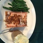Cedar Plank Salmon with twice baked potato and green beans