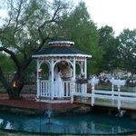 The gazebo and heart shaped pond