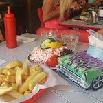 Elvis burger and shrimp sandwich
