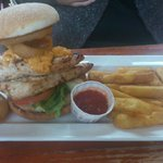 Chicken Burger Meal With Onion Rings
