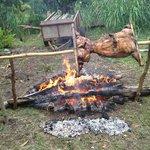 Deliciosos asado al palo que nos convidaron a comer