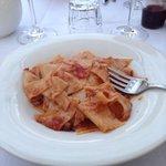 Pasta with local hare red sauce- delizioso!
