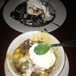 Warm Banana Bread Pudding and Hot Fudge Brownie Sundae