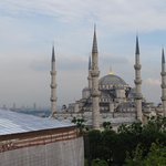 View from the roof top terrace/bar looking on to Blue Mosque