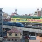 部屋からの眺望(別府駅とタワー)
