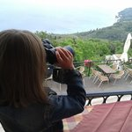 Checking out the view with the taverna's binoculars!