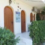Apt 1 patio, adj door is stairs to upper storey