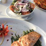 beautiful salmon and fresh salad
