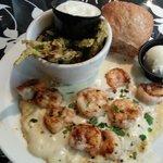 Shrimp & grits with tasty fried okra