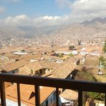 View of the city of Cusco from the dining room balcony