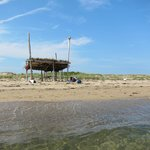 We build this hut from driftwood that we found on the beach