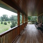The deck overlooking the beautiful grounds