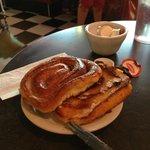 Super-fresh, lightly iced, grill-toasted cinnamon bun at Legendz Diner in Golden, BC. I'm in lov