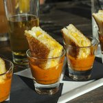 Grilled Macroni Cheese in Tomato Soup