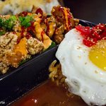 spicy curry with egg and karage  with salad