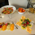 A wide variety of fruit as part of the breakfast buffet