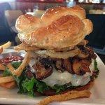 Portabella crispy onion pretzel cheeseburger. Crazy good!