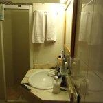 Wasbak met toilet en douche