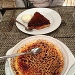 Giant creme brûlée and summer fruit gateaux