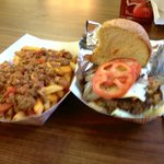 "Chili Cheese Fries and a ""Tim's Burger"", Bacon Cheeseburger with tomato and lettuce"