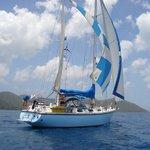 Liberty sailing in the Drake Passage between St. John and Tortola