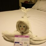 Funny towel-creations on the bed